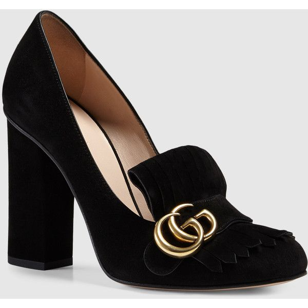 Gucci Suede Pump ($790) ❤ liked on Polyvore featuring shoes, pumps, heels, black, scarpe, moccasins & loafers, women's shoes, fringe suede moccasin, suede moccasins and suede pumps