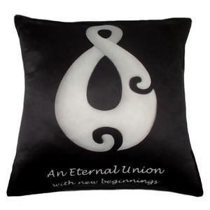 #throw pillows. The Eternal Cushion by Chelsea DesignNZ. New Zealand Art reproduced onto a cushion with an image that symbolises New Begiinnings, New Life, Growth, Peace and Harmony. The perfect gift for a wedding or civil union. 45cmx45cm. Machine washable 100% polyester with satin look and feel.. Cushion cover on its' own or supplied with 400gm scatter tigerfil inner.