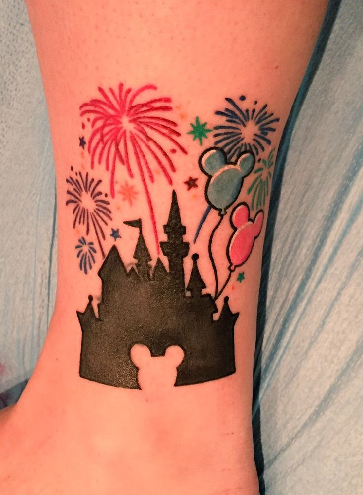 Disneyland/Sleeping Beauty's Castle Tattoo with fireworks and Mickey shaped balloons