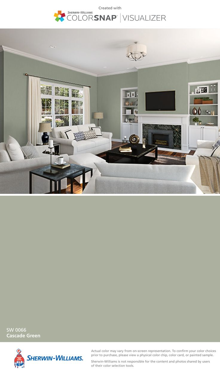 I found this color with ColorSnap® Visualizer for iPhone by Sherwin-Williams: Cascade Green (SW 0066).