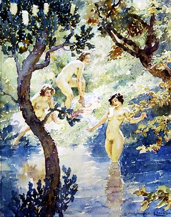 Nymphs in the Glade  by Australian artist Norman Lindsay