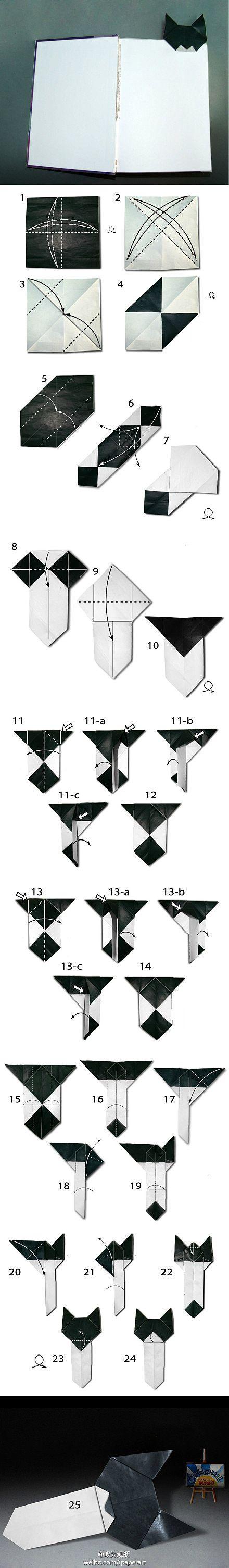 Origami cat bookmark.