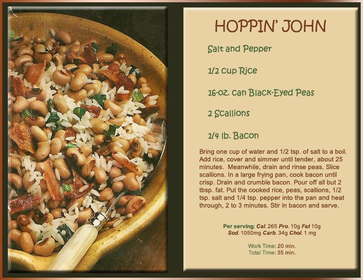 Hoppin' John...always on the menu for New Year's Day in the South ...