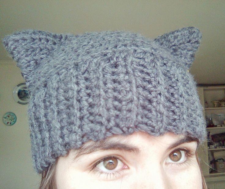 Gorro orejas de gato tejido a crochet