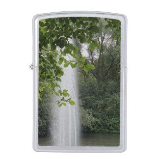 Forest Lake Fountain Nature Photography Zippo Lighter