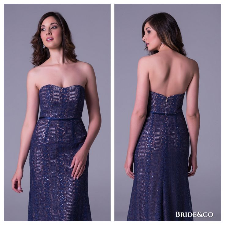 [New 2016 Collection] Style VC3107. #Crochet #lace #strapless #dress from #brideandco. Click to Book a Free Fitting in this Dress #dresses #eveningdresses #bluedresses #straplessgowns