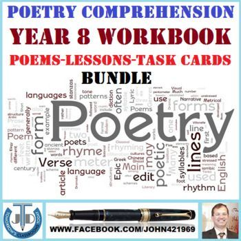 A bundle of 9 poem lessons and resources for year 8 learners that help   them to improve their comprehension skills. This Bundle Includes Lessons   and Resources on Poem Analysis and Poem Comprehension: 1. A Thing of