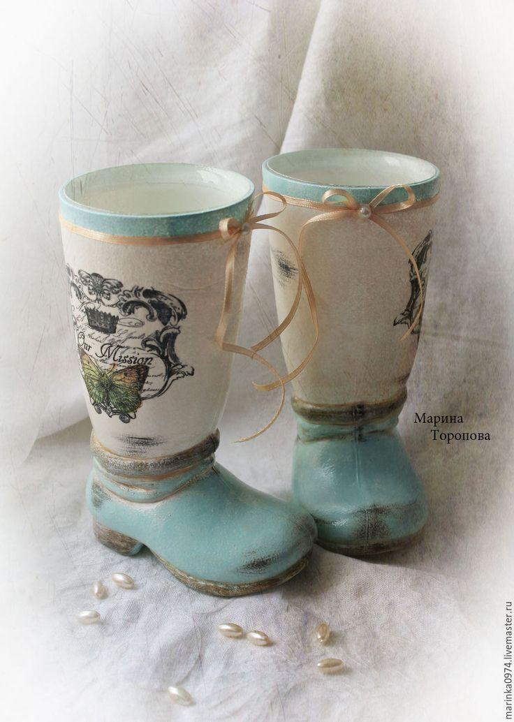 "Купить Подставка- ваза"" Весенняя прохлада. Винтаж"" . Пара. - мятный, бежевый цвет, белый"