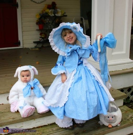 bo peep and her sheepie homemade halloween costume - How To Make Homemade Costumes For Halloween