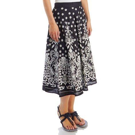 Floral Paisley Pull-On Midi Skirt