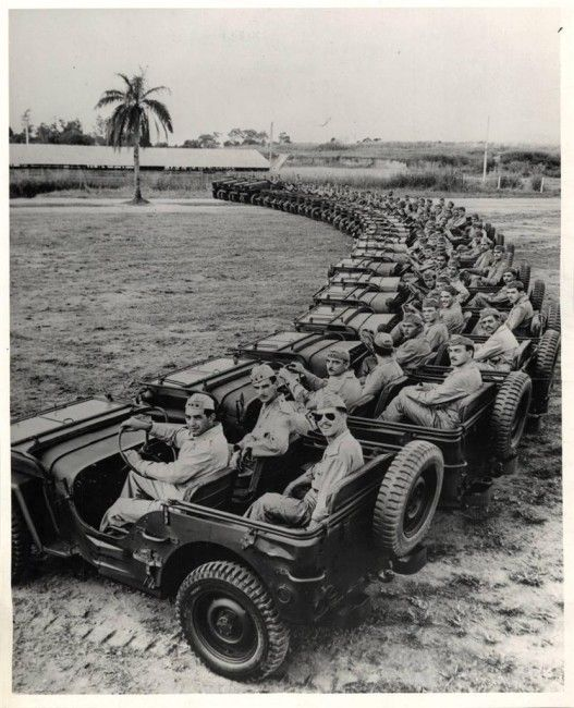 Brazillian troops in their Willys MB Jeep 4x4s. Circa 1944.