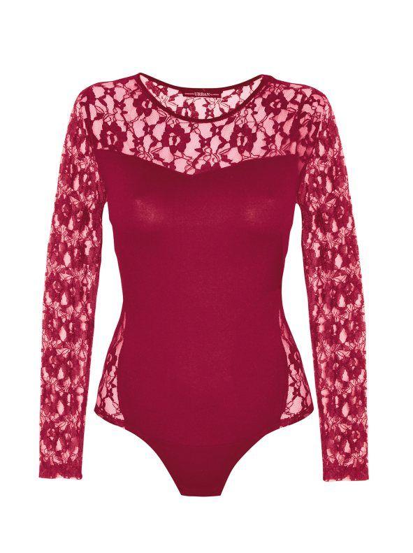 8eff078a Body de vestir punto elástico mujer de manga larga con encaje ...