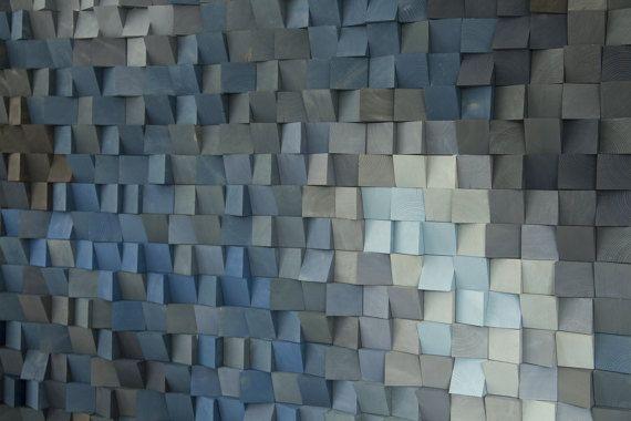 Hout Wall Art monochromatische hout kunst in blues nieuwe