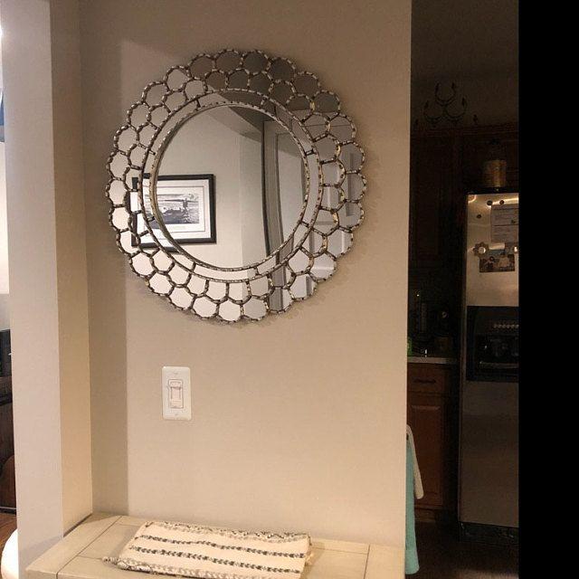 Handmade Round Wall Mirror 23 6 Silver, Round Mirror Wall Decor Wood