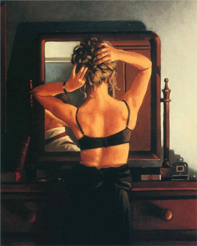 The Rooms of a Stranger - Jack Vettriano. It's the back stories that add so much to his work. Like hopper you can't help adding a tale that explains.