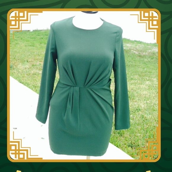 NWOT Long sleeve green mini dress NWOT! Very sexy dress, can be worn to any occasion or just a girls night out or a date night! Color is dark green, mid thought length. Has a full lining, sleeves are long, front twist that gives it an interesting unique look. Back zipper comes down to skirt. Self is 94% polyester 6% spandex lining is 100-% polyester Line & Dot Dresses Mini