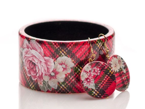 Scottish tartan pattern bangle jewelry with Floral elements Jewellery mixed media fashion earrings and bracelet set by HandmadeDecoupage, €33.00