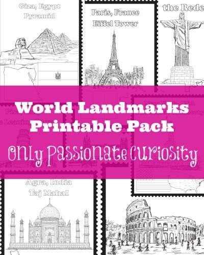 Are you working on Geography? Only Passionate Curiosity has a FREE World Landmarks Printables pack. In this pack, you'll find 8 world landmarks: The