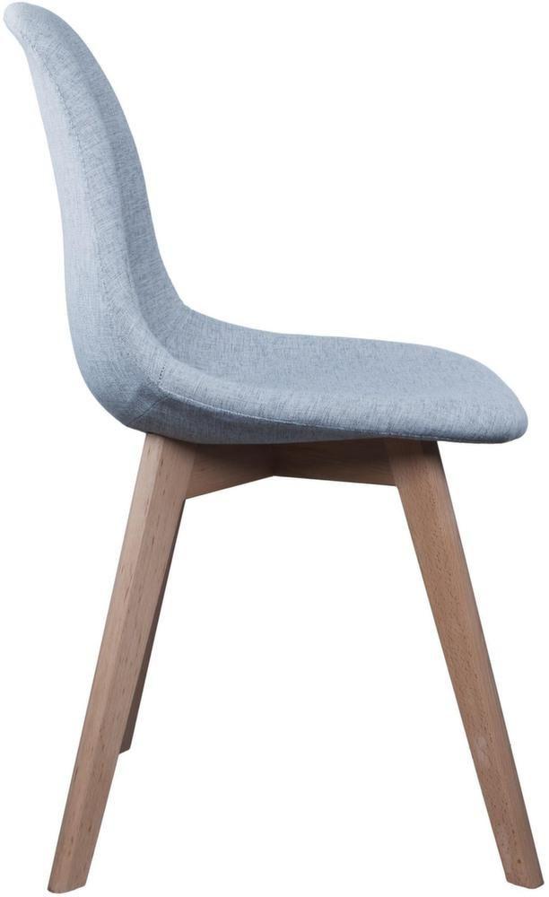 Chaise scandinave en tissu gris et pieds en bois