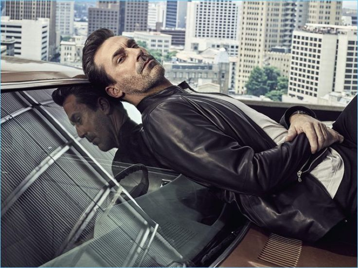 Sporting a leather jacket, Jon Hamm is a cool image.