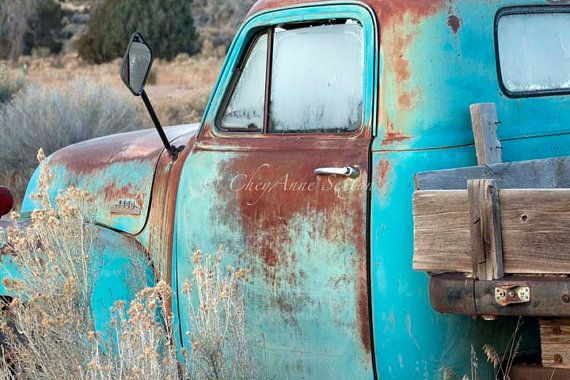 Surdimensionné vieille Chevy Pickup matin glacial Teal Chevrolet grand Hugh Art photo PRINT 30 x 40 - Antique Aqua - ferme Bleu Turquoise camionnette