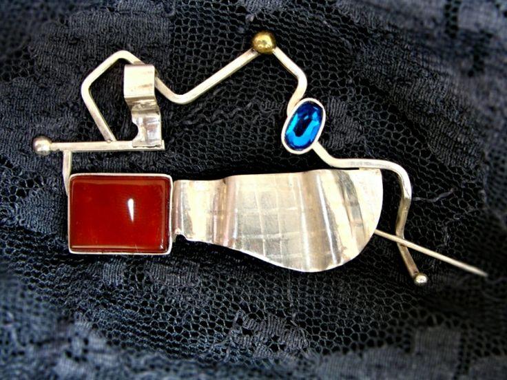"""Designr jewelry. Bijuterie de autor - Brosa """"Deep blue"""""""