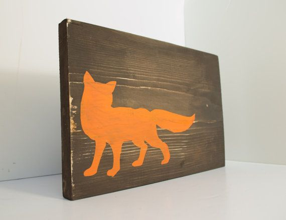 Fox Wood Sign Fox Home Decor Rustic Wall By