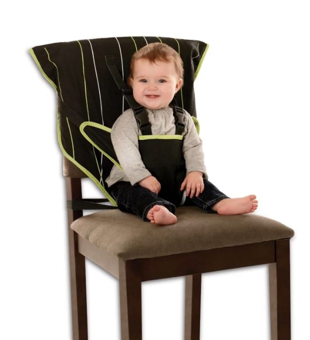 A great way to turn any chair into makeshift highchair.