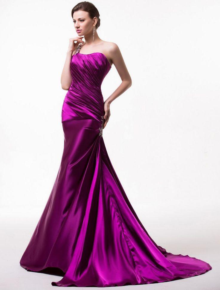 Rochie eleganta de ocazie din satin mov cu trena