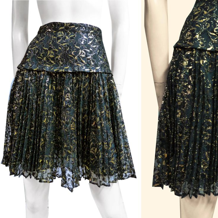 KENZO vintge skirt Lace Lurex gold golden gown robe jupe sz S As New from 80s elegant plissé high waist mini