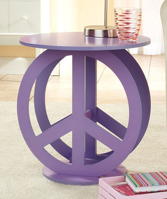 PURPLE RETRO PEACE SIGN WOOD END TABLE FURNITURE TWEEN BED GAME ROOM BLACK WHITE on eBay!
