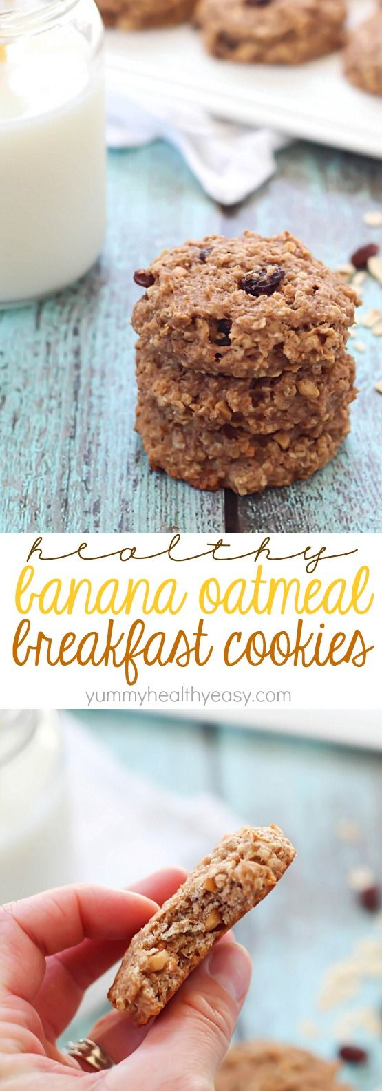 These Healthy Banana Oatmeal Breakfast Cookies are SO easy to make, have no butter or oil, and have only 165 calories in each cookie + 6g of protein!