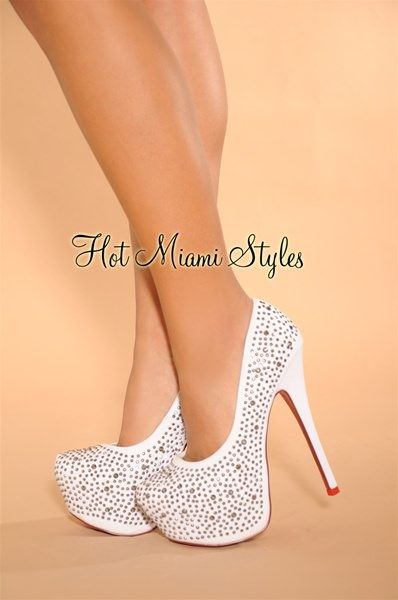 9ccf8f2d8 White High Shine Studded High Heel Red Bottom Pumps in 2019 | Shoes ...