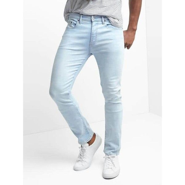 Gap Men Lightweight Skinny Fit Jeans Stretch ($70) ❤ liked on Polyvore featuring men's fashion, men's clothing, men's jeans, light bleached, tall, mens bleached jeans, mens stretch skinny jeans, mens tall jeans, mens bleached denim jeans and mens super skinny stretch jeans
