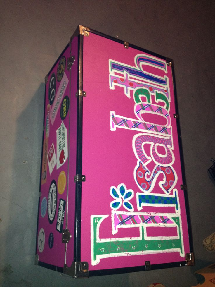 Painted camp trunk.