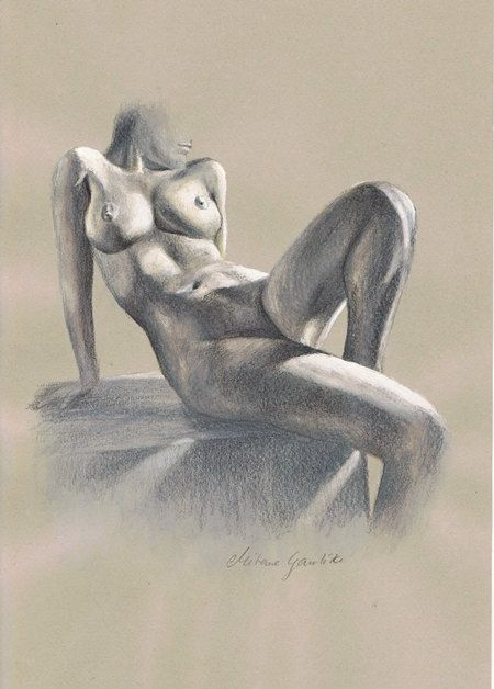 ORIGINAL DRAWING - Female nude 17 by Milena Gawlik, pencils on grey paper, artistic drawing of a sitting naked woman