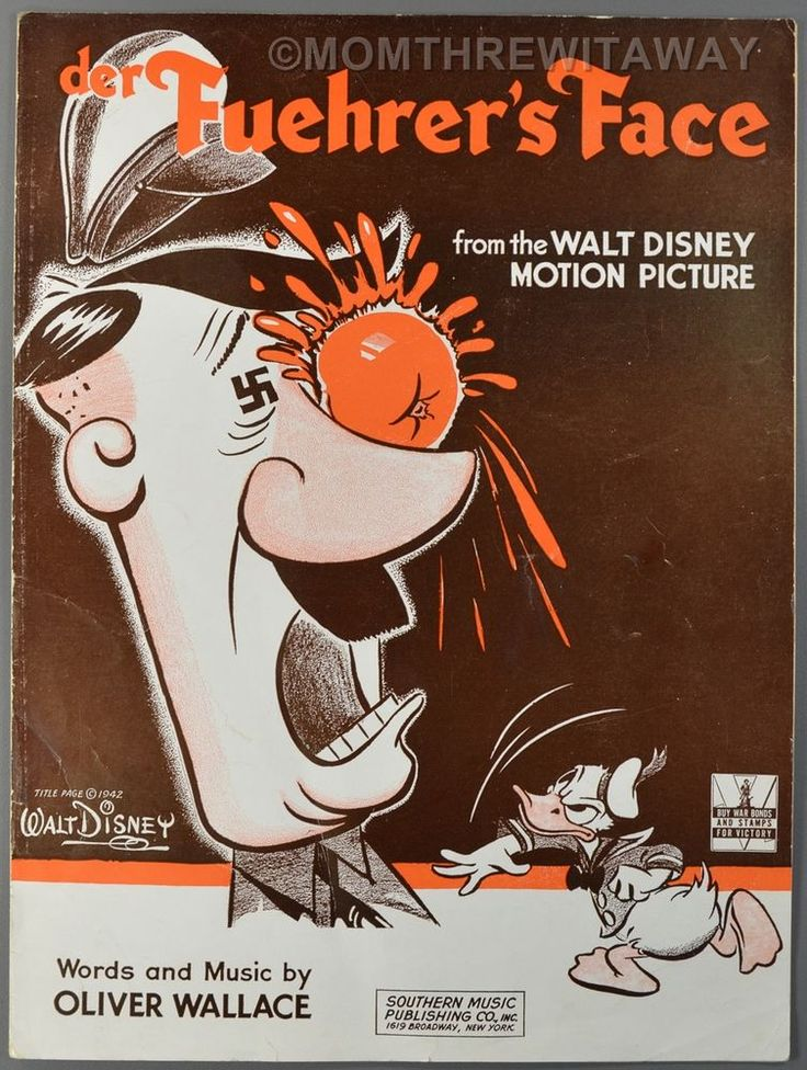 WWII WALT DISNEY Sheet Music DER FUEHRER'S FACE Donald Duck Hitler Cartoon
