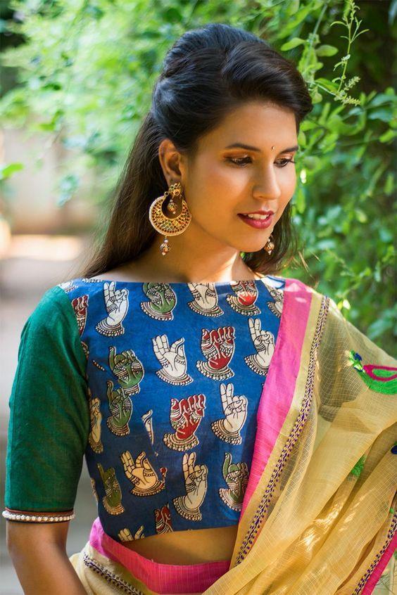 cf1d0b8637052 30 Timeless Kalamkari Blouse Patterns that you will love - Wedandbeyond.  Ready to shop blouses. Patch Blouse with Boat Neck. Kalamkari Blue Blouse  Designs