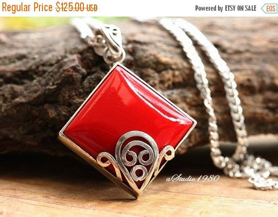 Artisan red Coral pendant  Square pendant  Bezel set by Studio1980