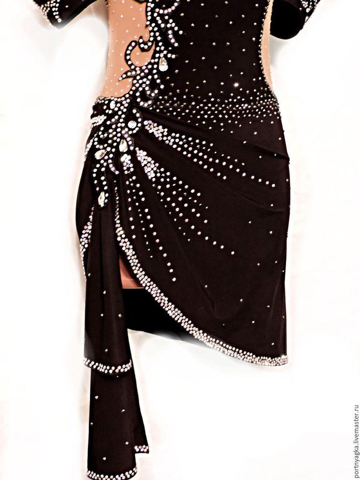 Купить Платье латина Кураж - черный, однотонный, бальные танцы, спортивные танцы, латина, стразы
