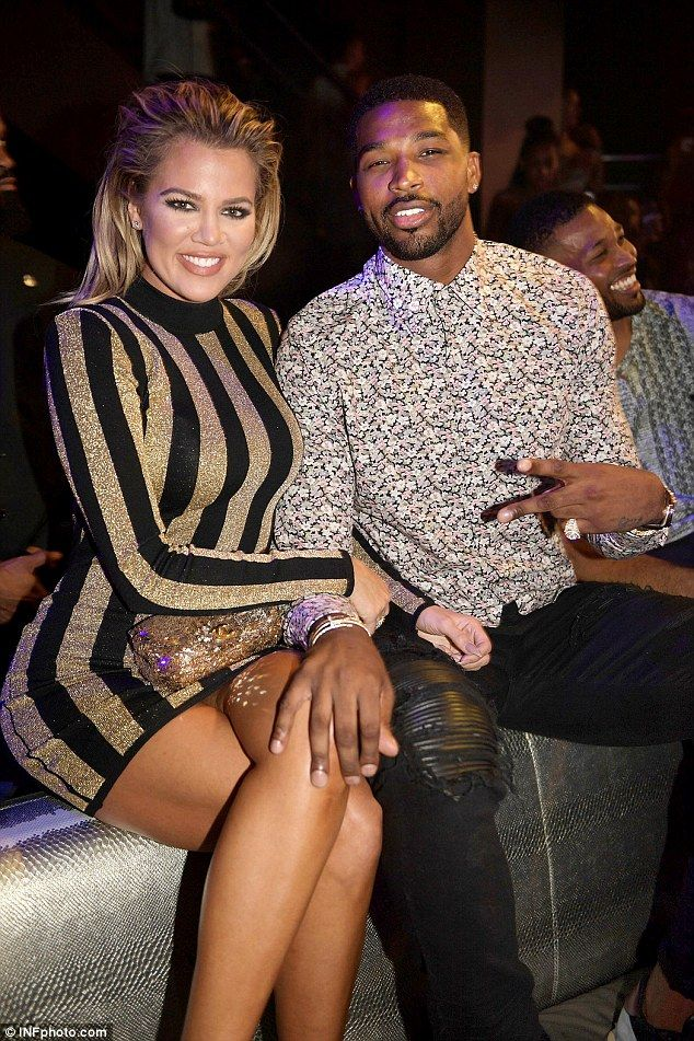 Playful: Khloe Kardashian and Tristan Thompson got close  the nightclub LIV at the Fontainebleau in Miami on Sunday