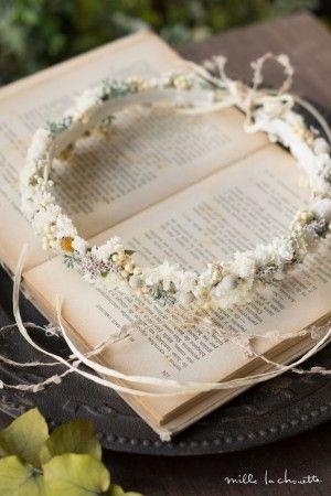 ホワイトナチュラル 実小花たっぷり可憐 花冠 corolla#garland#wreath