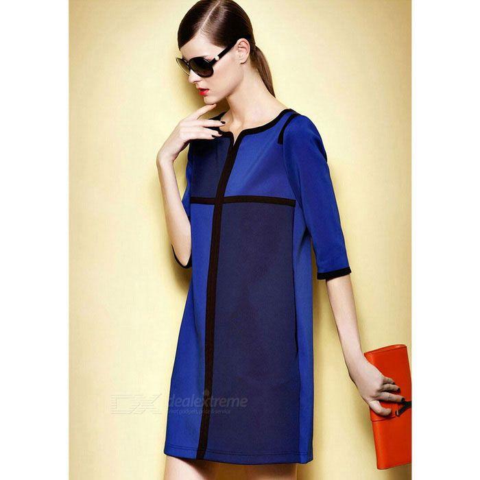 Fashion Crepe de Chine Mid-Sleeve Splice Dress - Blue (XL)