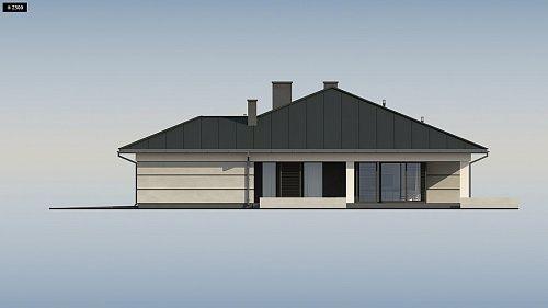 Проект ститьного одноэтажного дома с просторной террасой и с гаражом на два автомобиля S3-186-5 (Z378). Фасад 4. Shop-project
