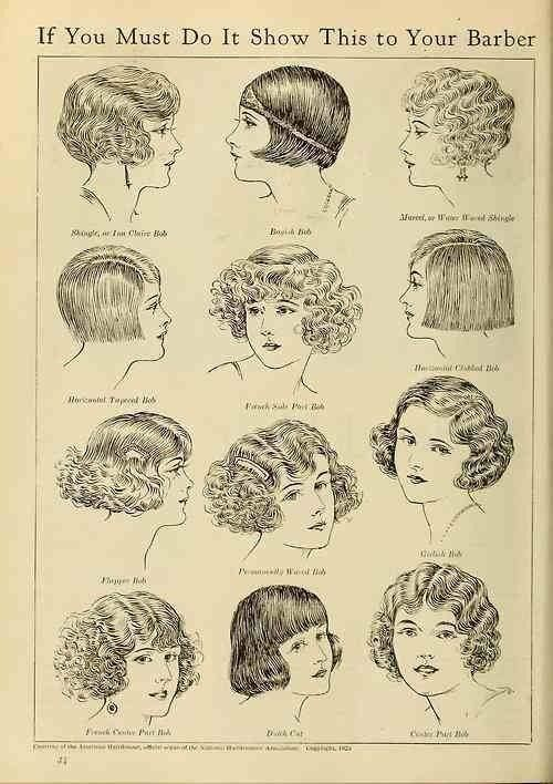 Period - Haha 'if you must rebel and look like a man, do it right' Flapper 1920s hairstyles / bobs                                                                                                                                                                                 More