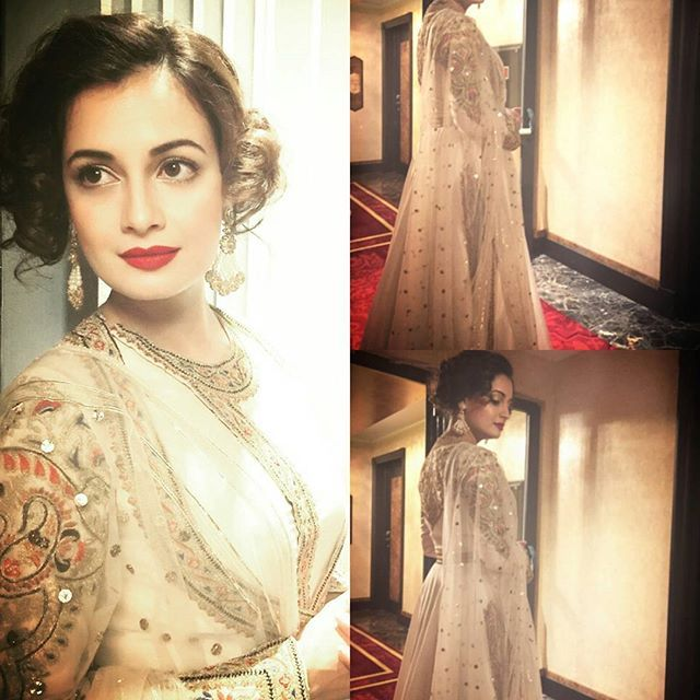 indianstreetfashion: Dia Mirza choose a @rimple_harpreet_narula outfit for a wedding in Antalya  #turkey .. Styled by : Theia Tachandaney  Loving the makeup and the hair too ! #pastels