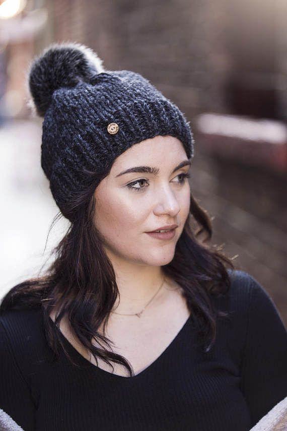 Charcoal Grey Hand Knit Hat with Faux Fur Pom Pom