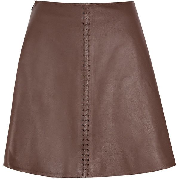 Chloé Leather whipstitch skirt (€645) ❤ liked on Polyvore featuring skirts, mini skirts, saias, bottoms, chloe, brown leather mini skirt, real leather skirt, brown mini skirt, brown skirt and leather skirt