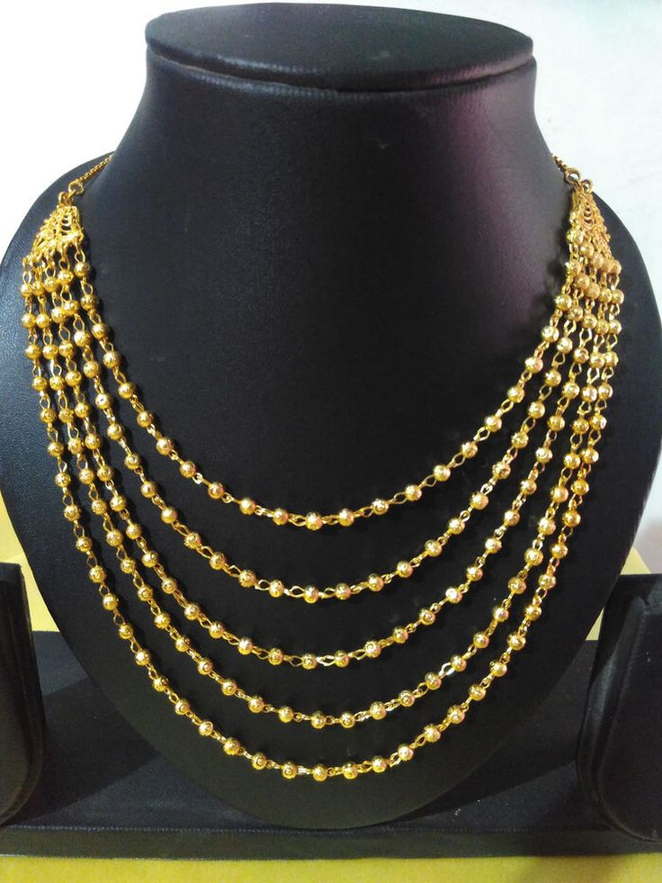 one gram gold plated 5 line  layer ball chain necklace set queen set
