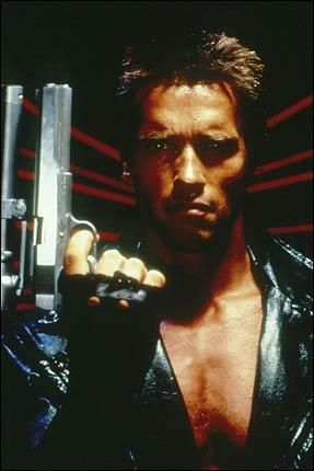 Terminator without sunglasses and with human eyes than robotic eyes